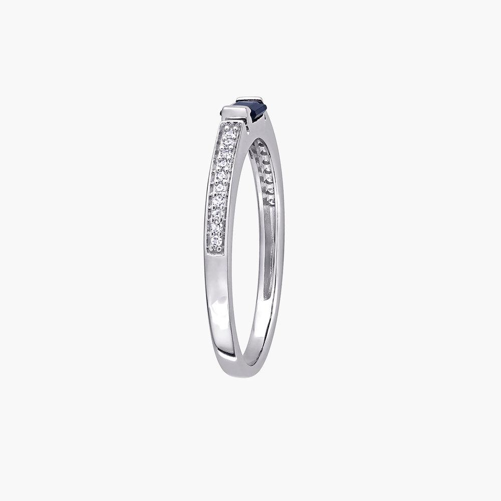 Diamond and Sapphire Ring - 10K White Gold - 2