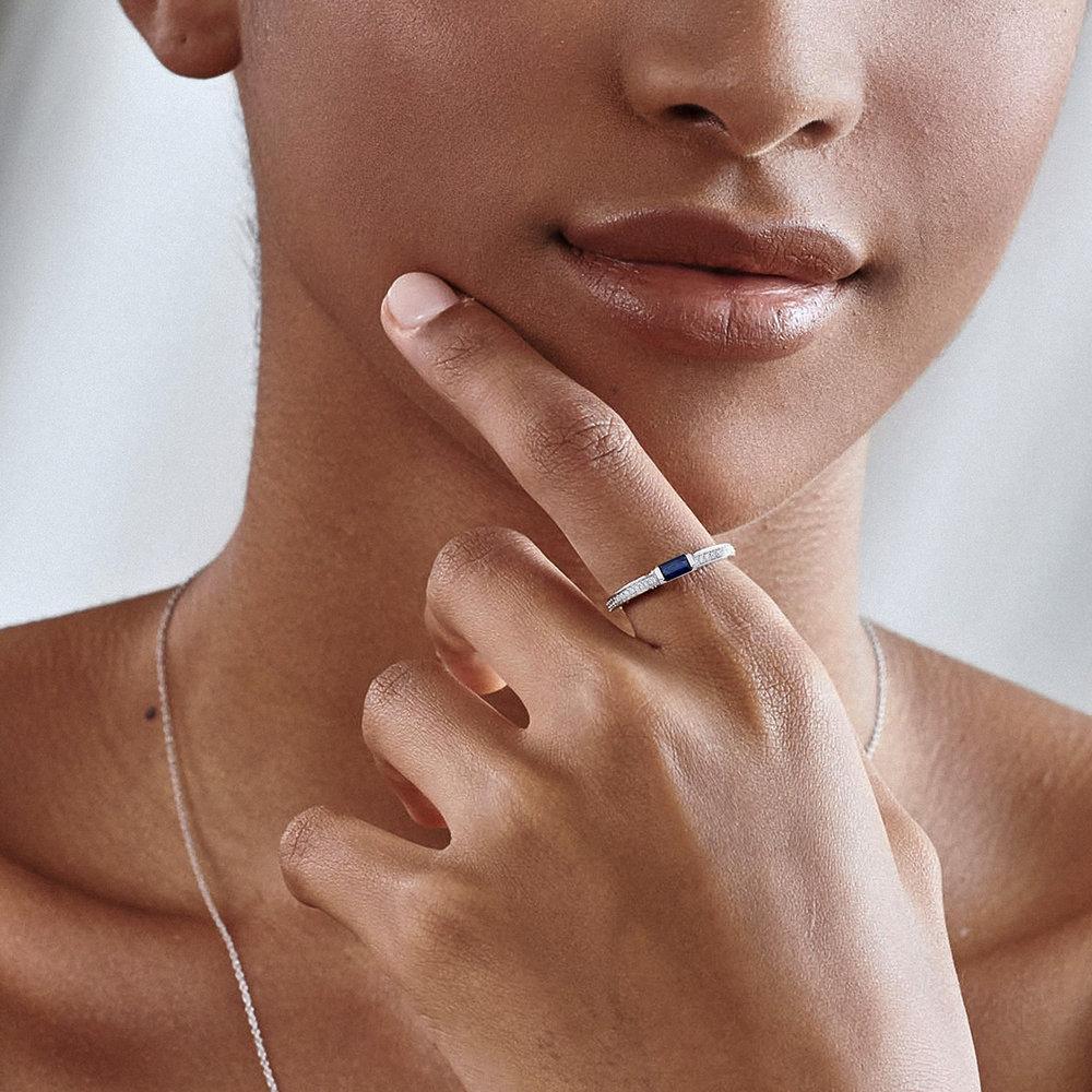 Diamond and Sapphire Ring - 10K White Gold - 3