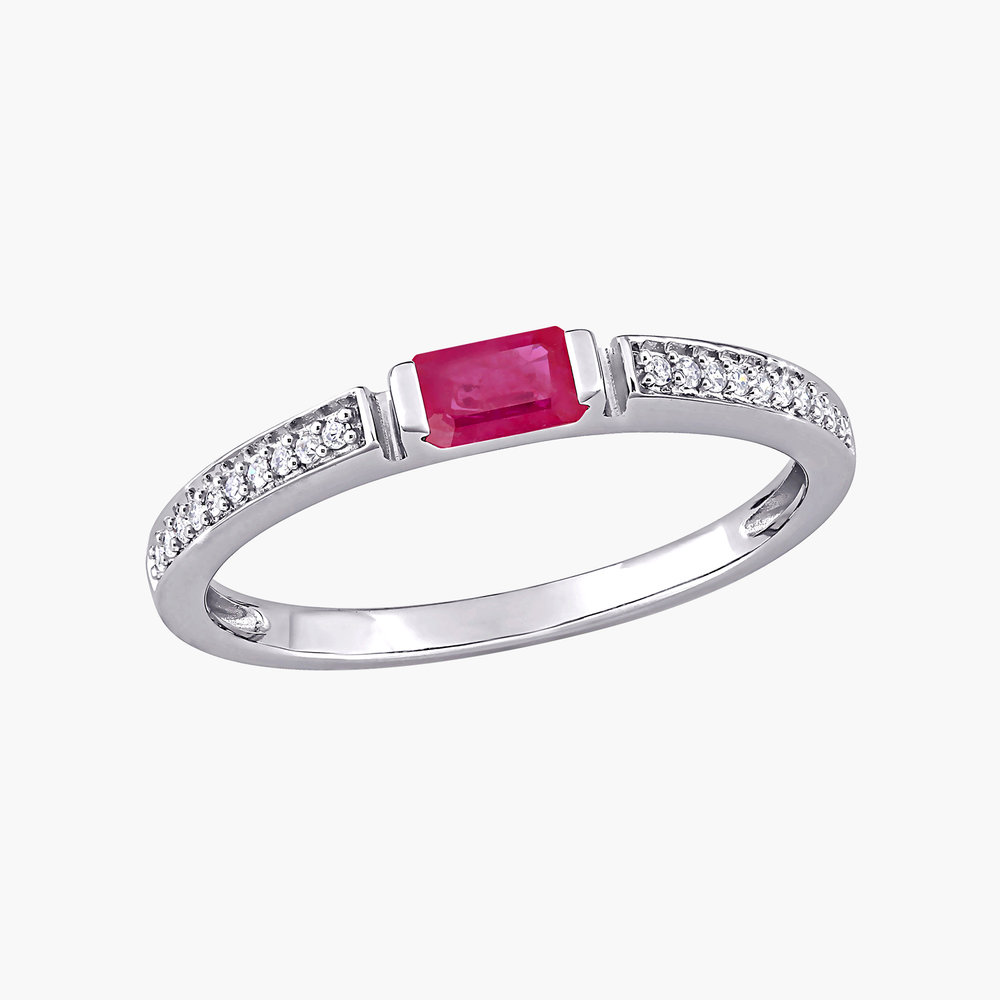 Diamond and Ruby Ring - 10K White Gold