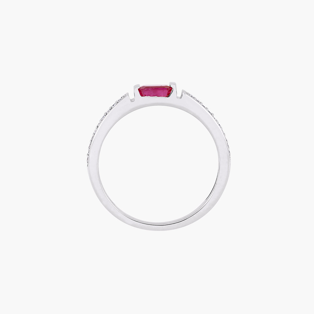 Diamond and Ruby Ring - 10K White Gold - 1