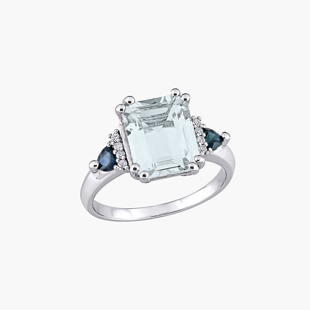 Dean Aquamarine and Diamond Ring - Sterling Silver