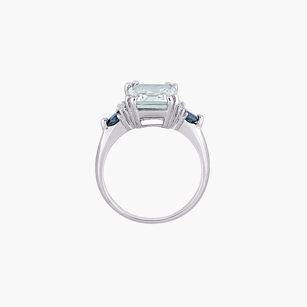 Dean Aquamarine and Diamond Ring - Sterling Silver - 1