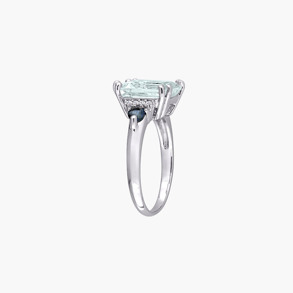 Dean Aquamarine and Diamond Ring - Sterling Silver - 2