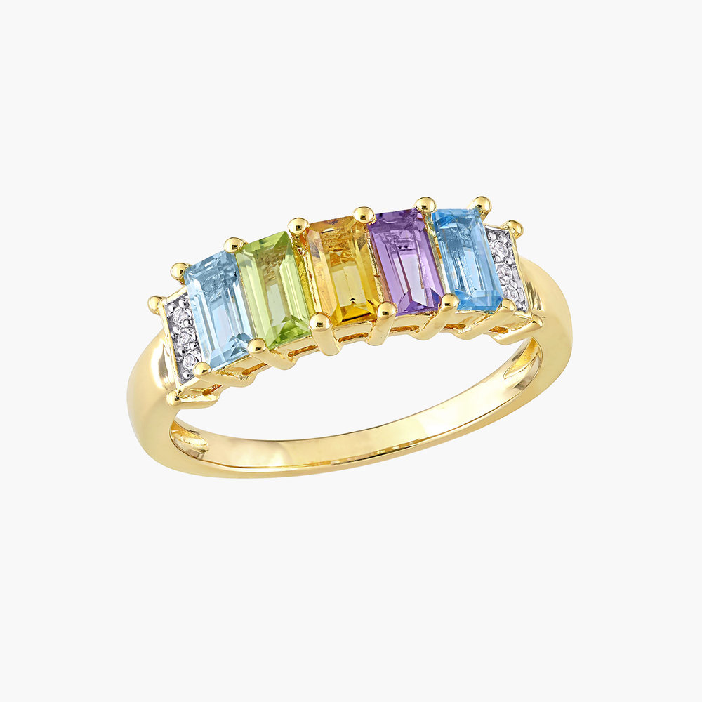 Belle Multi-Gemstone Baguette Ring - Gold Plating