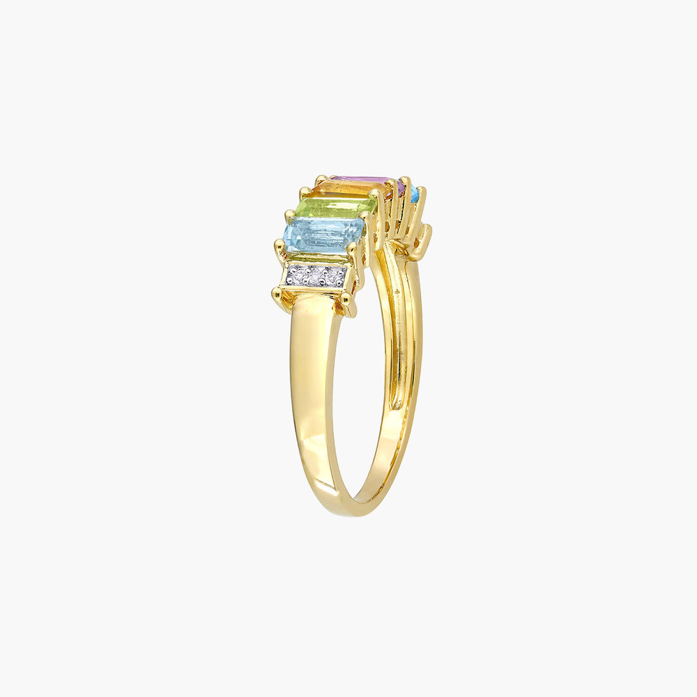 Belle Multi-Gemstone Baguette Ring - Gold Plating - 2