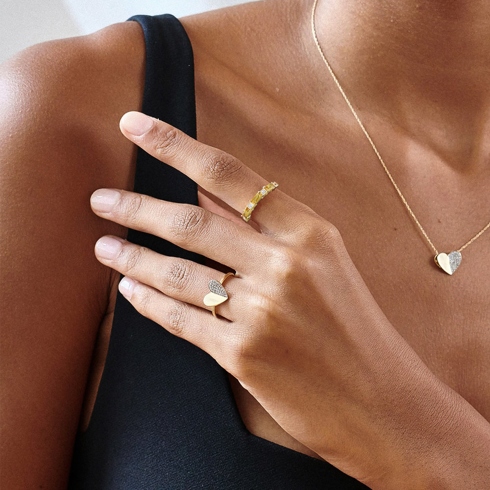 Amour Baguette Ring - 10K Yellow Gold - 3