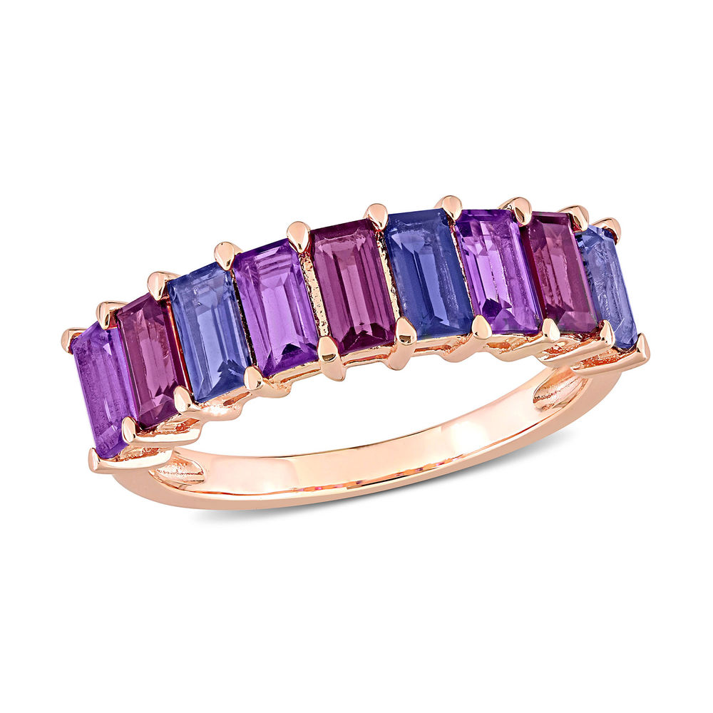 BAGUETTE RING WITH AMETHYST, RHODOLITE AND LOLITE GEMSTONES - ROSE GOLD PLATED