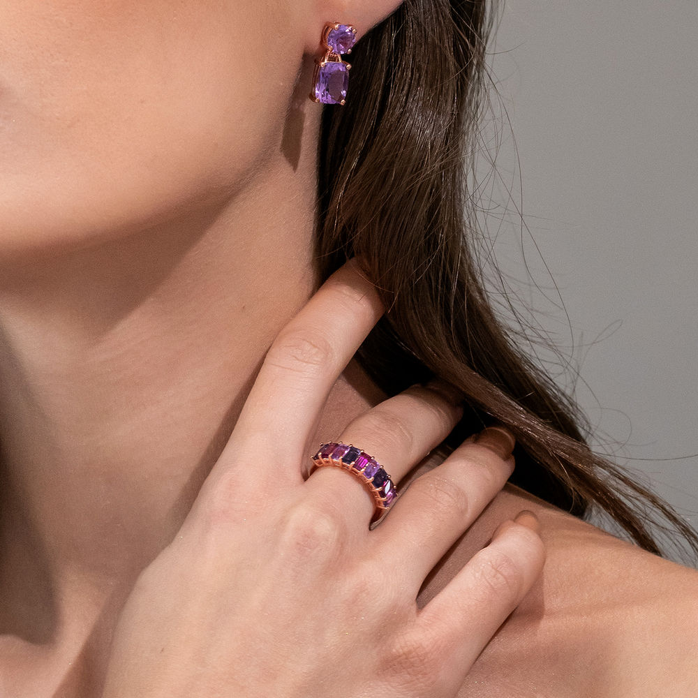 BAGUETTE RING WITH AMETHYST, RHODOLITE AND LOLITE GEMSTONES - ROSE GOLD PLATED - 2