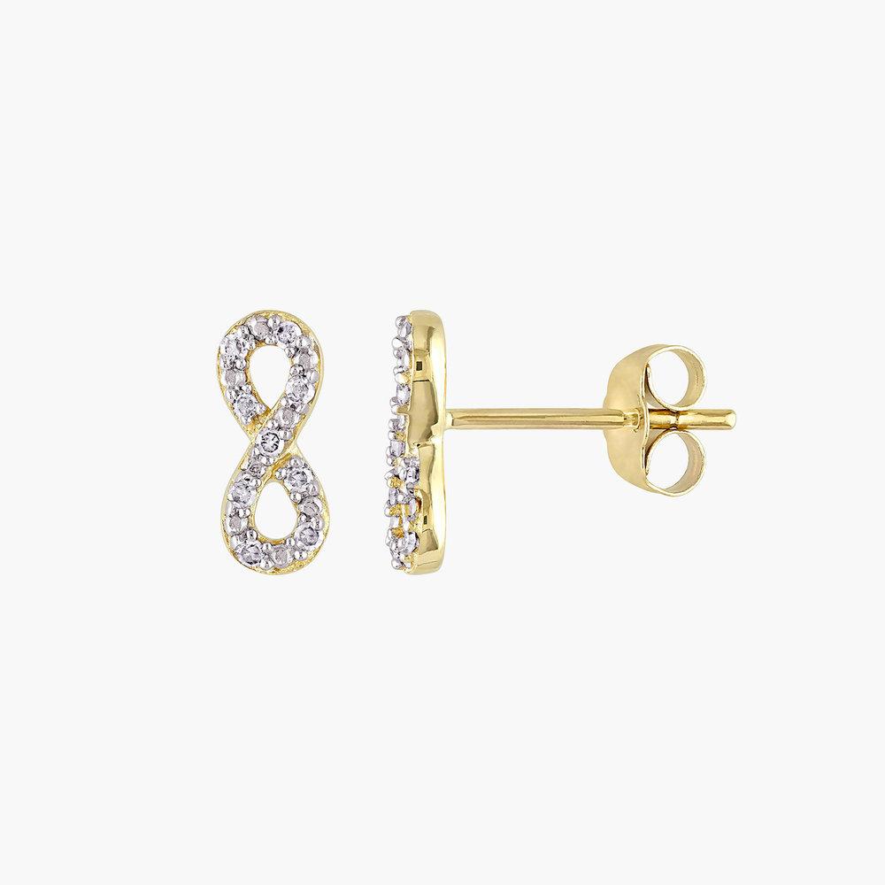 Infinity Diamond Studs - 10K Yellow Gold