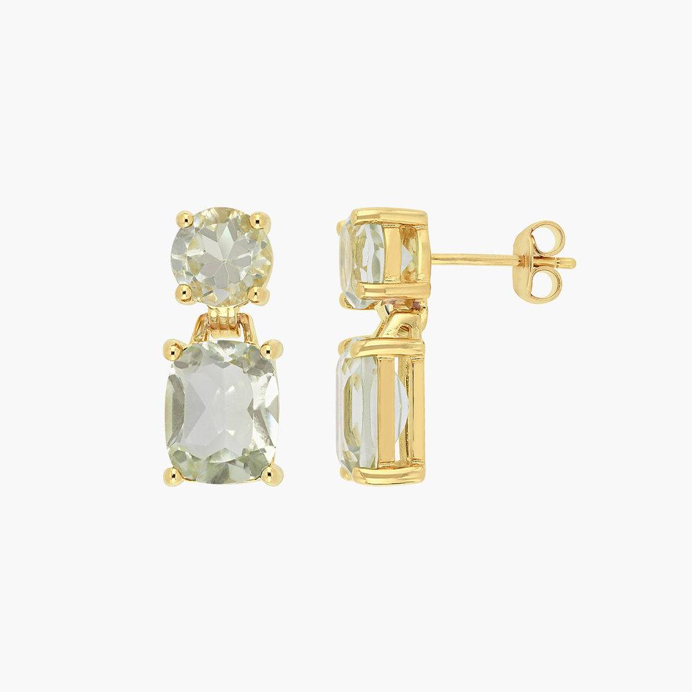 Green Quartz Drop Earrings - Gold Plating