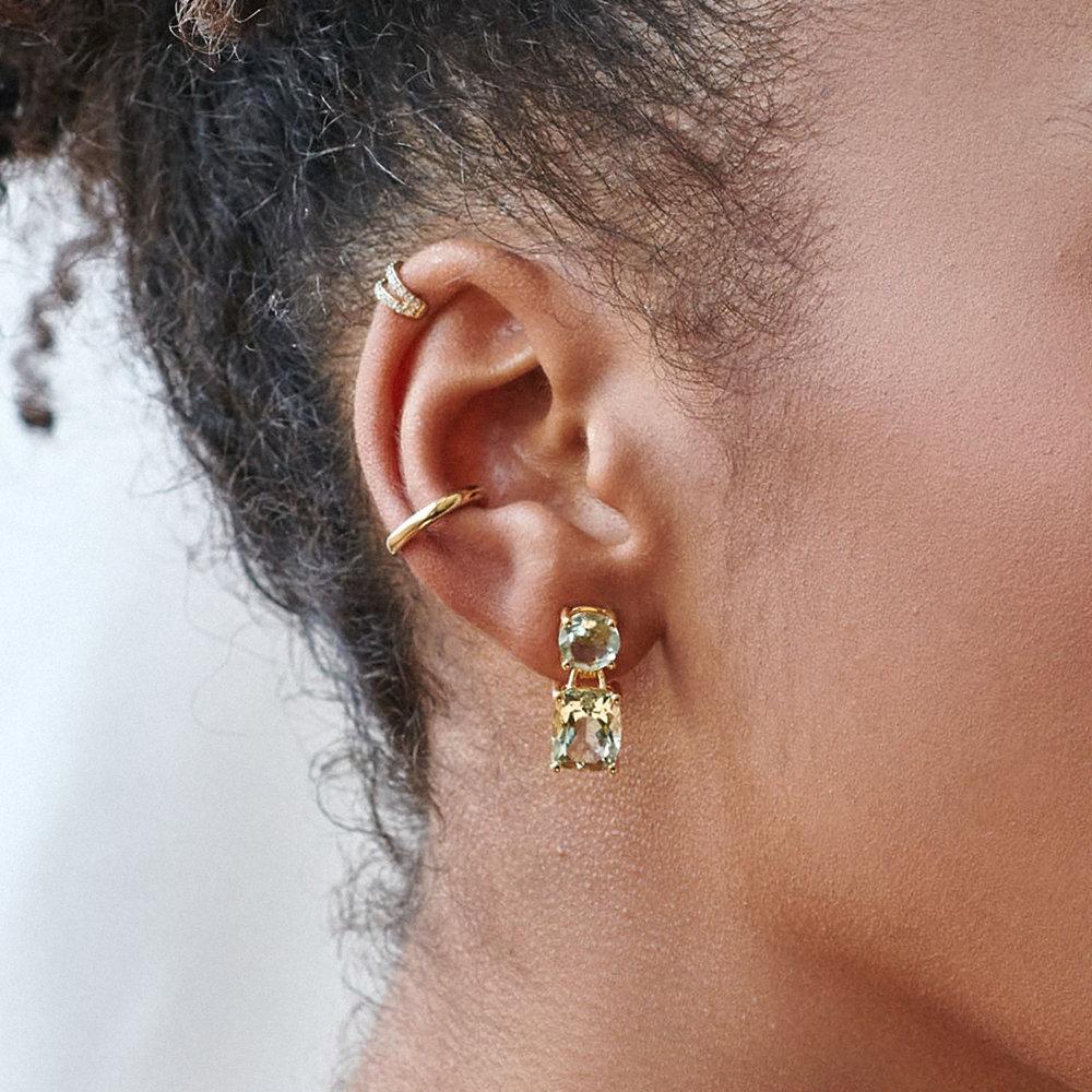 Green Quartz Drop Earrings - Gold Plating - 1