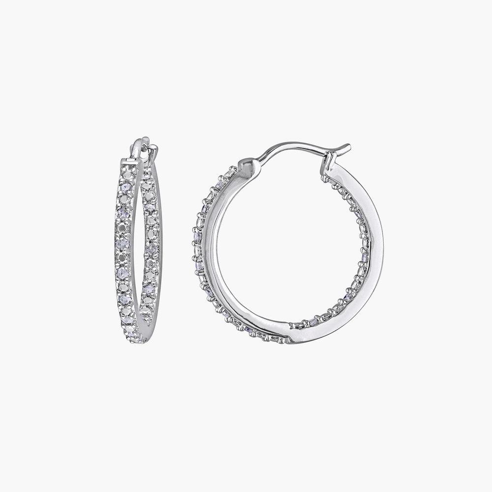 Tara Inside-Out Diamond Hoops - Sterling Silver