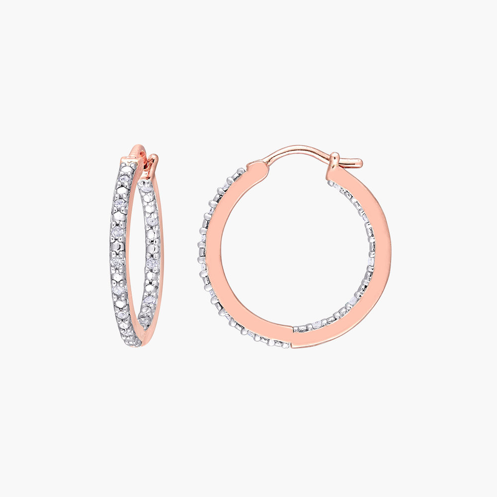 Tara Inside-Out Diamond Hoops - Rose Gold Plating
