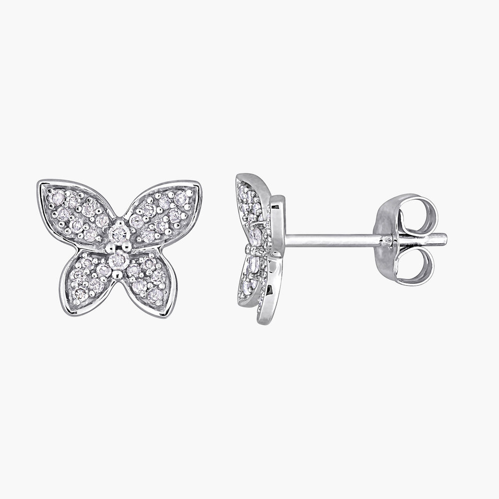 Aurora Diamond Butterfly Stud Earrings - 10K White Gold