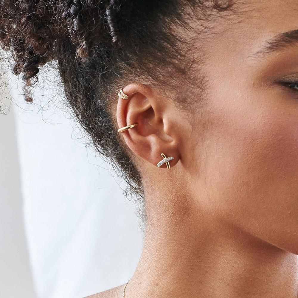 Violette Diamond Stud Earrings - 10K Yellow Gold - 1