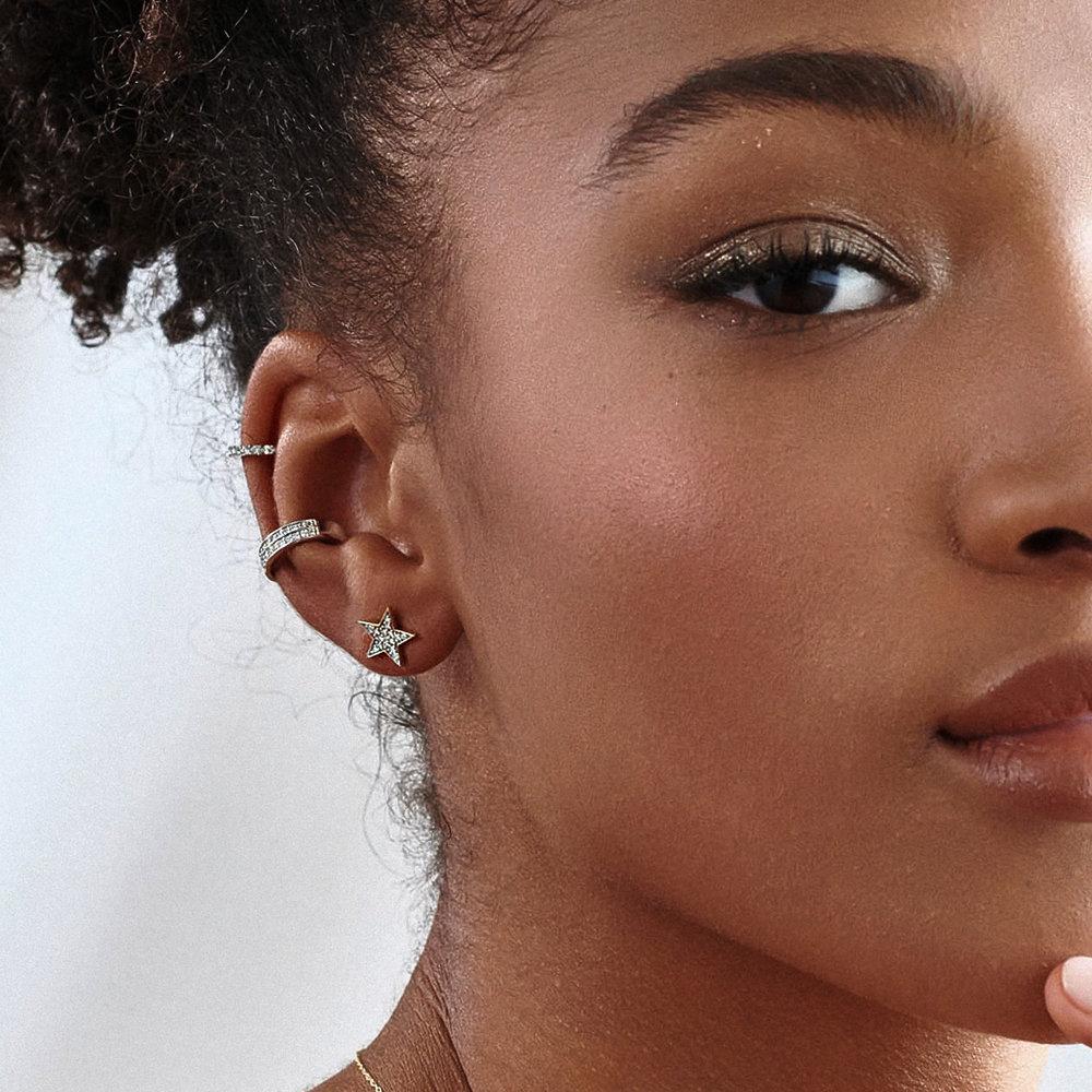 Juliette Diamond Star Stud Earrings - 10K Yellow Gold - 1