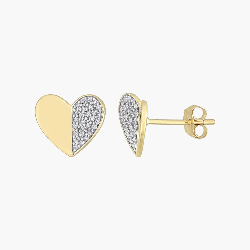 Eloise Diamond Heart Stud Earrings - 10K Yellow Gold