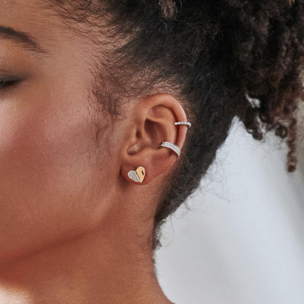 Eloise Diamond Heart Stud Earrings - 10K Yellow Gold - 1