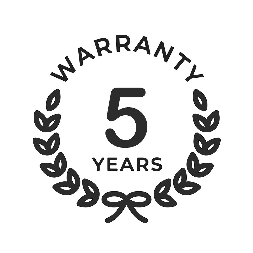 Five year warranty for extra peace of mind