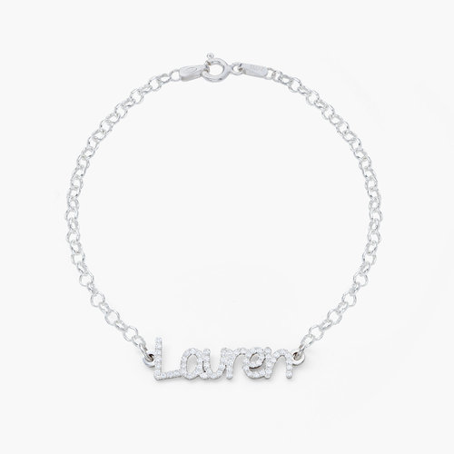 Pixie Name Bracelet with Cubic Zirconia - Silver product photo