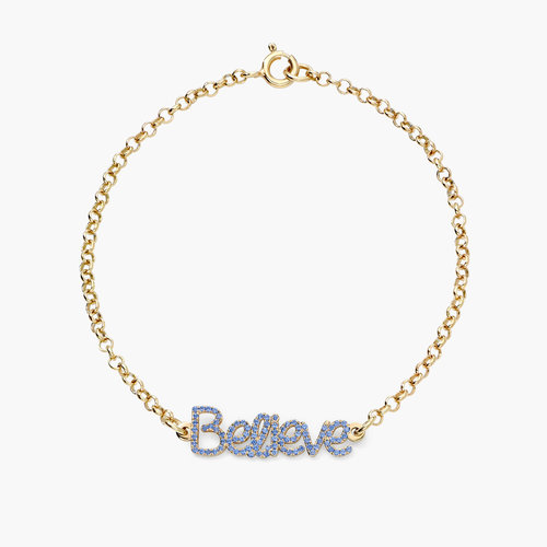 Pixie Name Bracelet with Cubic Zirconia - Gold Plated product photo