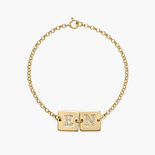 Cube Letter Bracelet with Cubic Zirconia - Gold Plated product photo