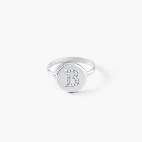 Mini Initial Disc Ring with Cubic Zirconia - Silver product photo