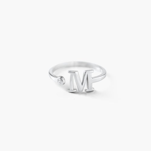 Tiny Initial Ring - Silver product photo