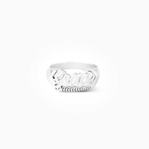 Throwback Name Ring - Silver product photo
