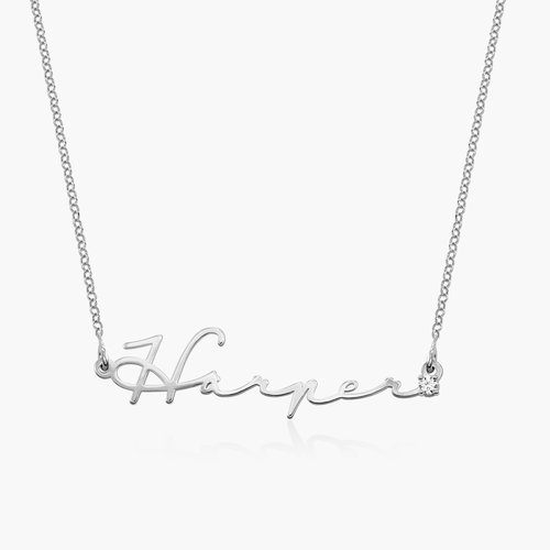 Mon Petit Name Necklace with Diamond - Sterling Silver product photo