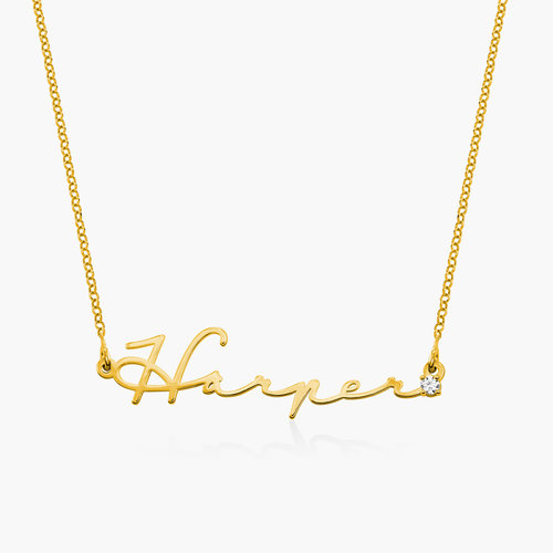Mon Petit Name Necklace with Diamond - Gold Plated product photo