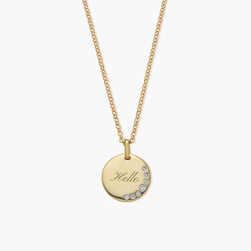 Luna Round Necklace with Cubic Zirconia - Gold Plated product photo
