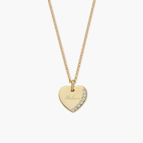 Luna Heart Necklace with Cubic Zirconia - Gold Plated product photo