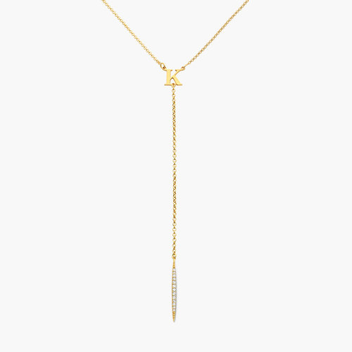 Initial Drop Necklace With Cubic Zirconia - Gold Plated product photo