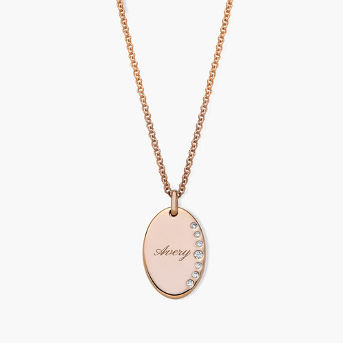 Luna Oval Necklace with Cubic Zirconia - Rose Gold Plated product photo