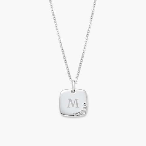 Luna Square Necklace with Cubic Zirconia - Silver product photo