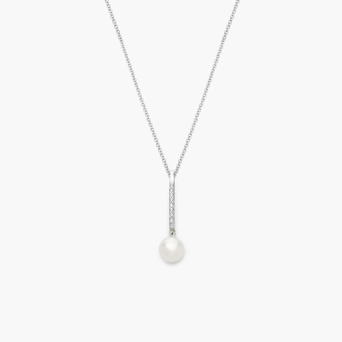 Pearl Drop Necklace - Silver product photo