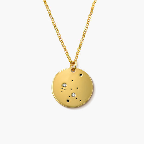 Aquarius Zodiac Necklace with Diamonds - Gold Plated product photo