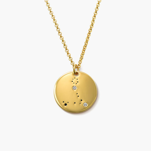 Pisces Zodiac Necklace with Diamonds - Gold Plated product photo