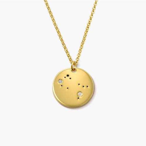 Gemini Zodiac Necklace with Diamonds - Gold Plated product photo