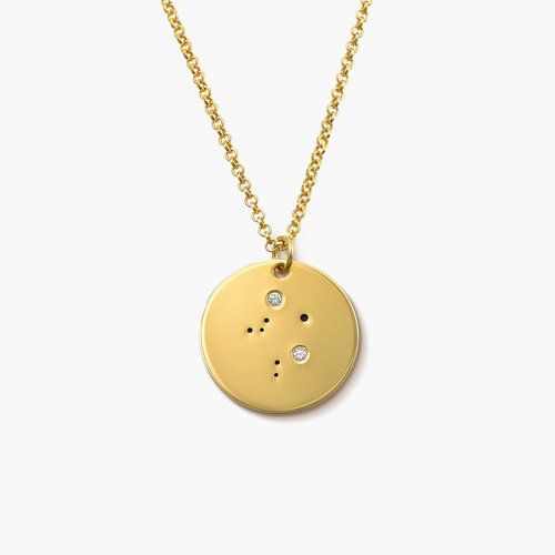 Libra Zodiac Necklace with Diamonds - Gold Plated product photo
