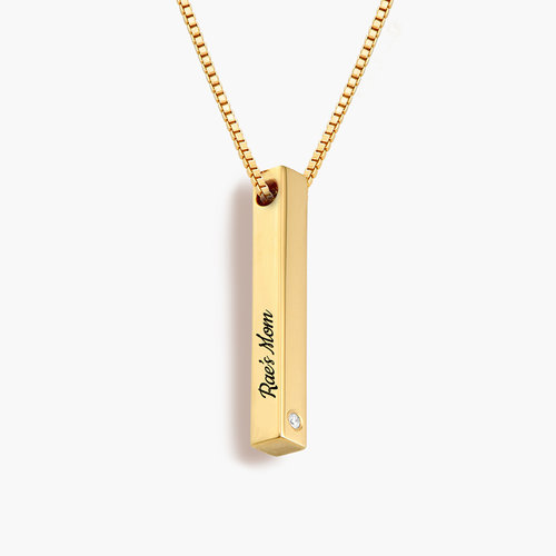 Pillar Bar Necklace - 18k Gold Vermeil with Diamond product photo
