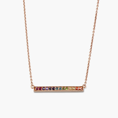 Rainbow Bar Necklace - Rose Gold Plated product photo