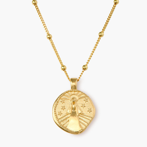 Virgin Mary Vintage Coin Necklace - Gold Plated product photo