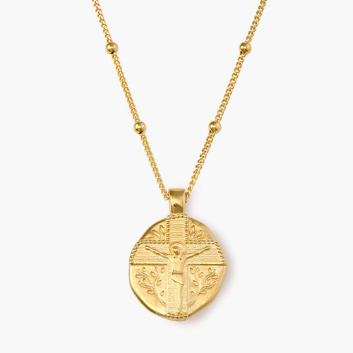 Jesus Vintage Coin Necklace - Gold Plated product photo