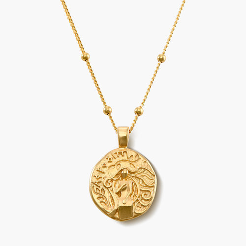 Goddess of Beauty Vintage Greek Coin Necklace - Gold Plated product photo