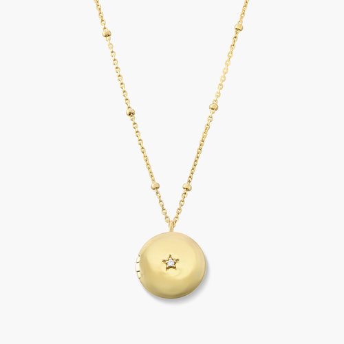 Locket Round Necklace with Star - Gold Plated product photo