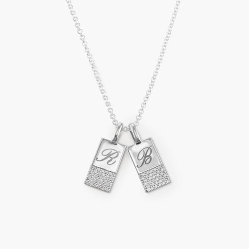 Luna Shimmer Initial Tag Necklace - Sterling Silver product photo