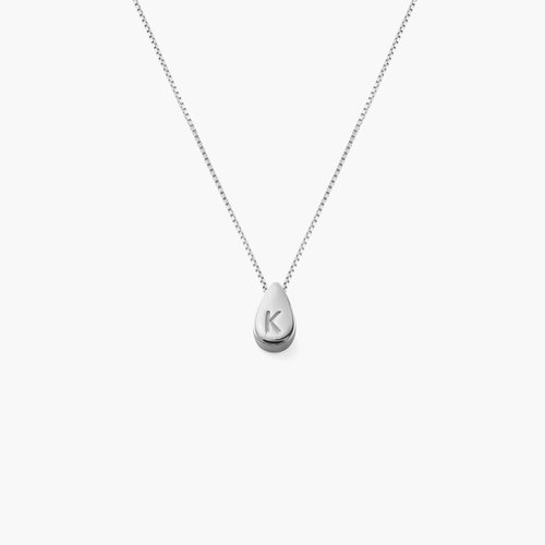 Teardrop Initial Necklace - Sterling Silver product photo