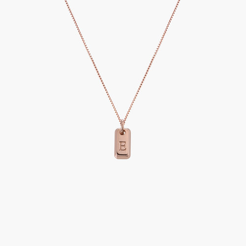 Lucille Initial Tag Necklace - Rose Gold Plated product photo
